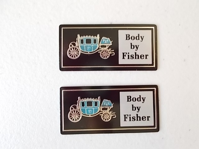 NOS Body By Fisher Door Sill Emblems